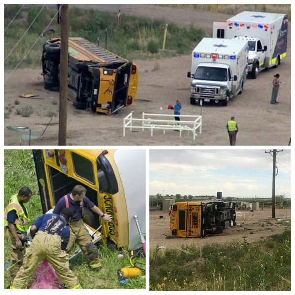 В столкновении школьного автобуса с грузовиком в США пострадали почти 20 детей
