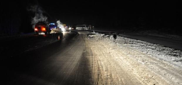 На тюменской трассе столкнулись автовоз, грузовик, легковушка и автобус с детьми
