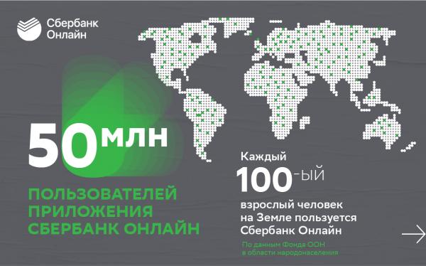 Более 50 млн клиентов Сбербанка пользуются приложением Сбербанк Онлайн